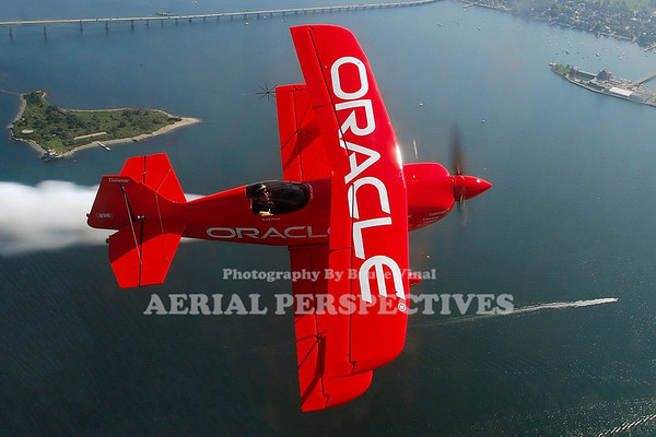 "Sean Tucker in his custom built ""Oracle Challenger"" over Newport R.I."