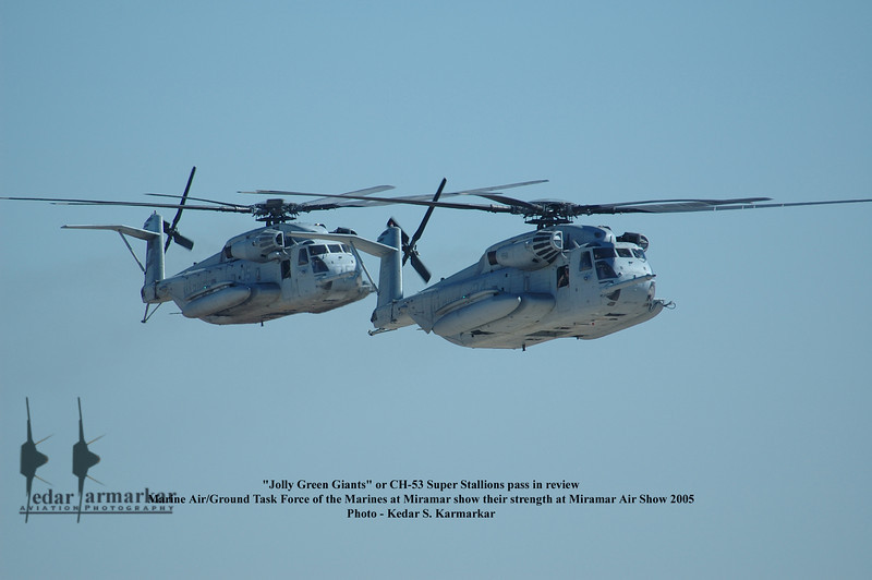 """CH-53E Super Stallions pass in review - these are not """"Jolly Green Giants"""" - this name was referred to the H-3 or Sea King helicopters."""