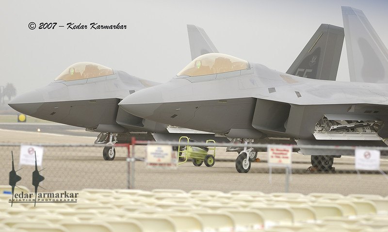 Pair of F-22A Raptors parked on the ramp