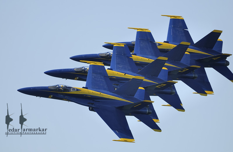 Blue Angles perform the Line Echelon Pass where wingtip to head distance comes as close as 18 inches.