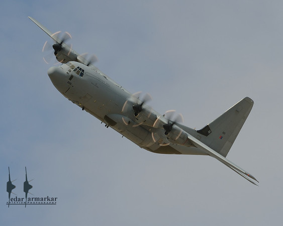 C-130 Hercules of the Royal Air Force, breaking for landing
