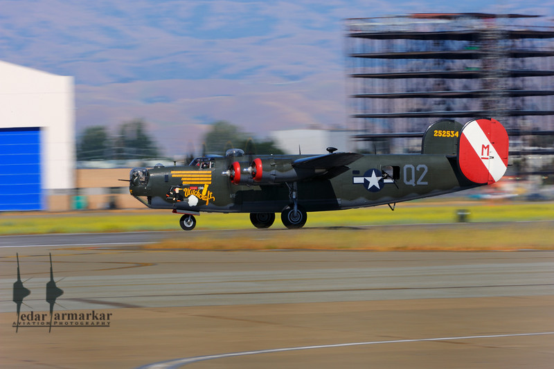 """Collings Foundation B-24 Liberator """"Witchcraft"""" to honor the 8th Air Force, at Moffett Federal Airfield."""