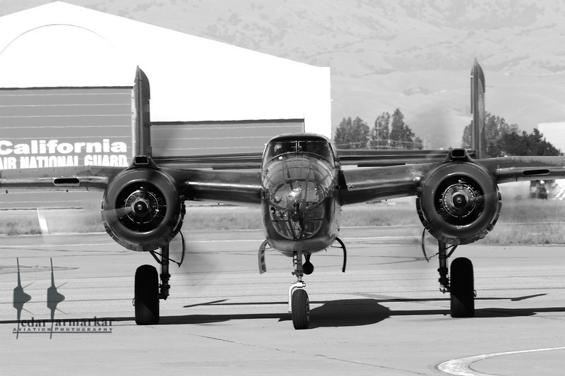 """Collings Foundation B-25 Mitchell """"Tondelayo"""" at Moffett Federal Airfield"""