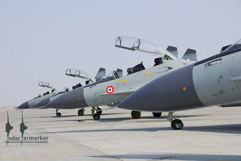"""Group of Su-30MKI aircraft from No.20 """"Lightnings"""" Sqn, on the ramp"""