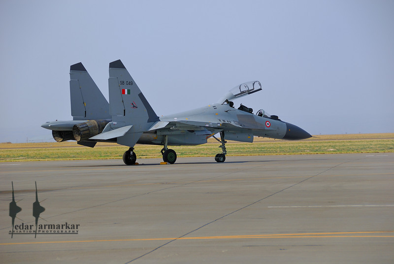 """Sukhoi Su-30MKI aircraft from No.20 """"Lightnings"""" Sqn, on the ramp at Mountain Home, AFB"""