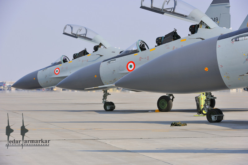 """Su-30MKI aircraft from No.20 """"Lightnings"""" Sqn, on the ramp"""