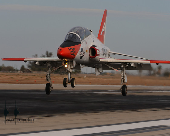Just moments before touchdown, T-45 Goshawk comes in for a landing