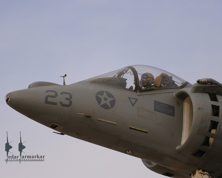 Close-up of the AV-8B Harrier and its pilot