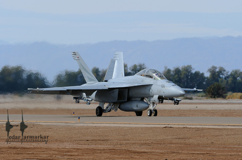 """F/A-18F Super-Hornet or """"Rhino"""" taxies in after landing"""