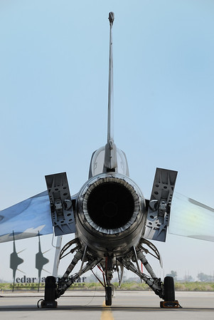 Rear-view of a F-16N Falcon on the NSAWC Ramp