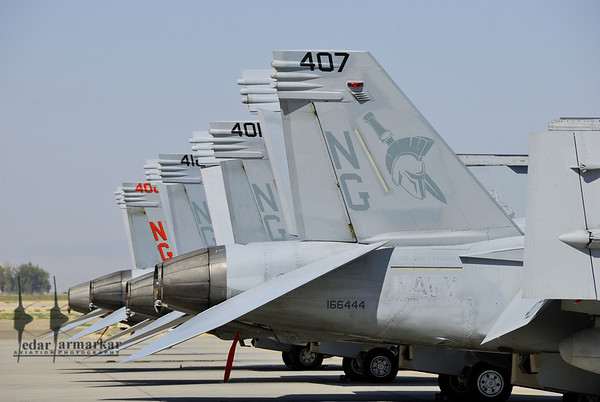 """Super-Hornets from VFA-147 """"Argonauts"""" on the ramp"""