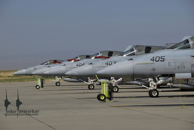 """F/A-18E Rhinos from VFA-147 """"Argonauts"""" on the Ramp"""