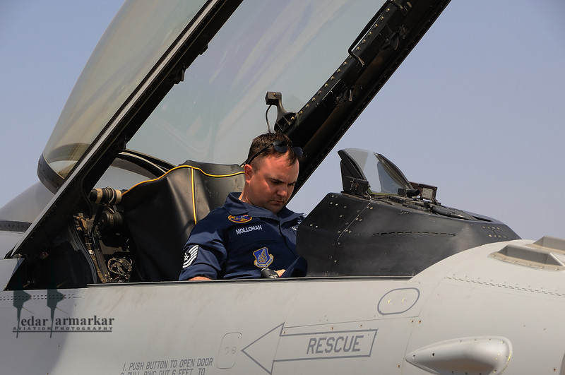 TechSgt Mollohan checks out the F-16 aircraft from the 14th Fighter Sqn