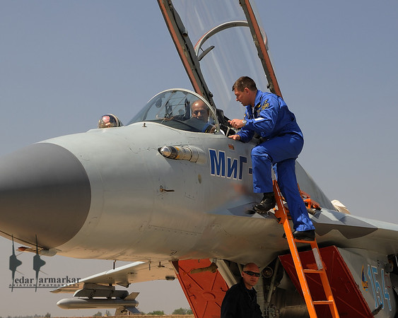 Air Marshal (Retd) Harish Masand, with MiG-35 test pilot Mikhail Belyaev