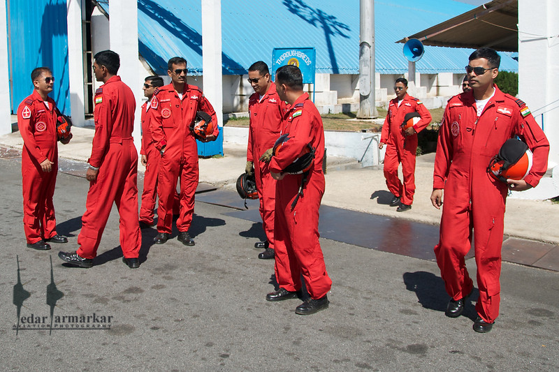 SKAT team heading out to their aircraft before their performance at Aero India 2011.