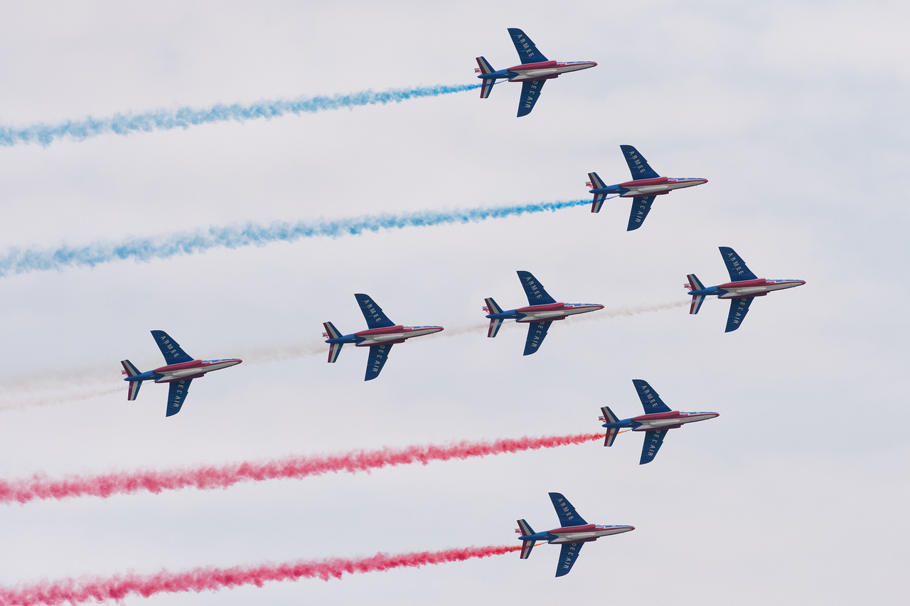 Spotter's Day at Chateaudun AFB, France. Répétition du show de la Patrouille de France.