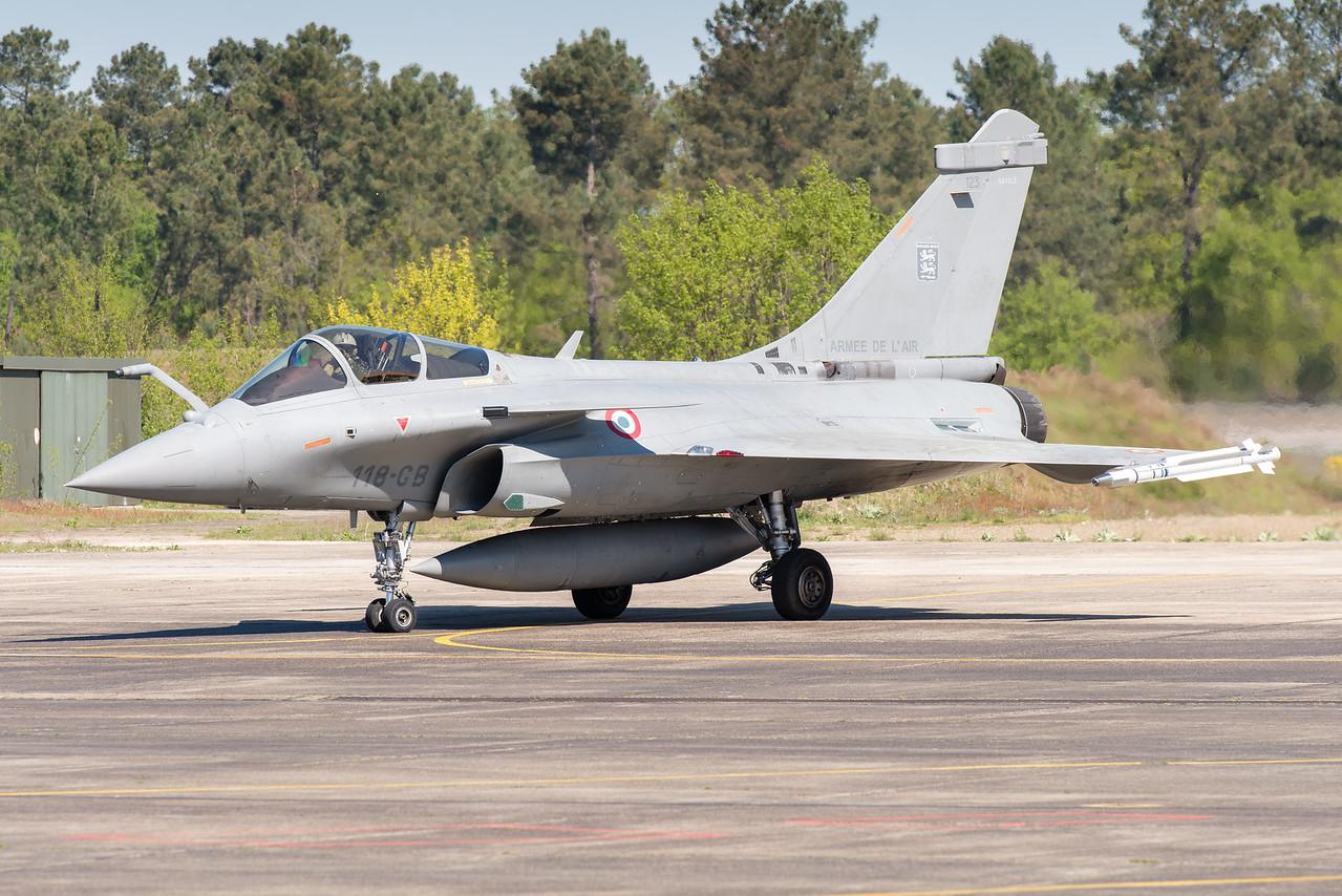 "Rafale #123 from EC 2/30 ""Normandie-Niémen"" at Mont-de-Marsan AFB, France."