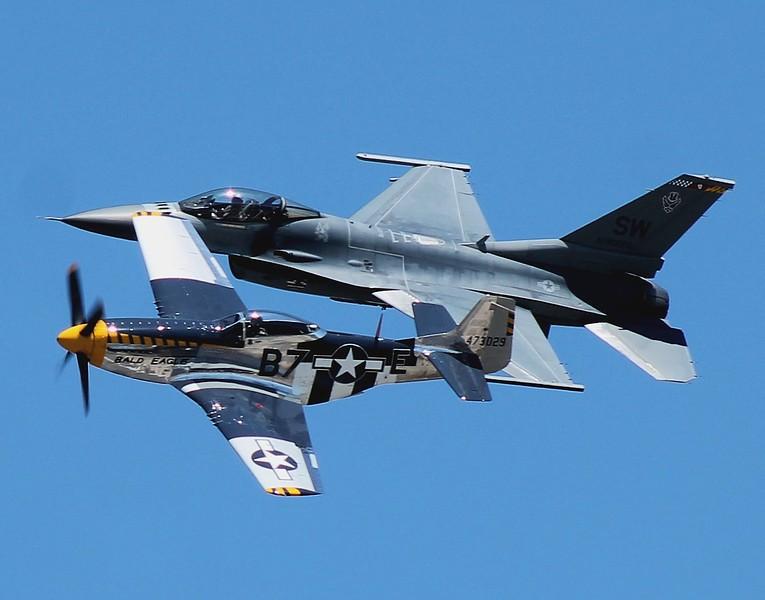 Heritage Flight; P-51D & F-16 [91-0376] from Shaw AFB South Carolina