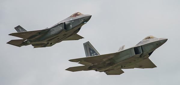 09-4191, 12-5052, F-22A, F-35, F-35A, Lightning II, Lockheed Martin, RIAT2016, Raptor, US Air Force (8.9Mp)