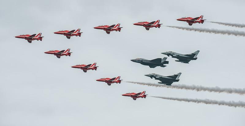 BAe, British Aerospace, ED, Eurofighter, F-35, F-35B, FL, Hawk T1, Lightning II, Lockheed Martin, RAF, RIAT2016, Red Arrows, Red Arrows + Guest Red11, Royal Air Force, Typhoon FGR.4, ZK306, ZK310, ZM1 (27.5Mp)