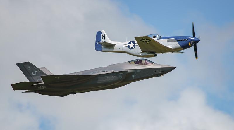 """""""Miss Helen"""", 12-5052, 472216, F-35, F-35A, HO-M, Lightning II, Lockheed Martin, Mustang, Mustang P51D, North American, RIAT2016 (18.8Mp)"""