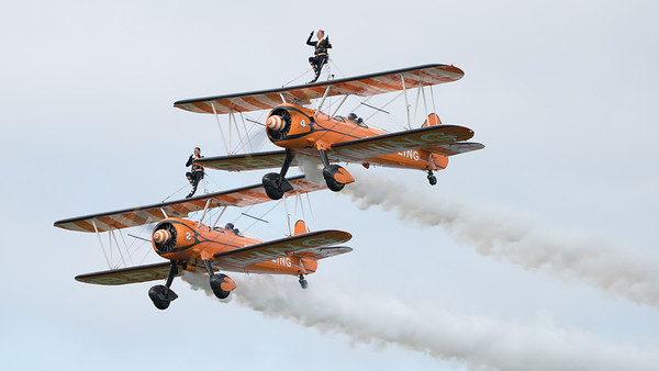 AeroSuperBatics, Biggin Hill, Boeing, Breitling Wingwalkers, Festival of Flight 2017, Kaydet, N74189, No2, No4, PT-17, SE-BOG, Stearman; London Biggin Hill Airport,Biggin Hill,London,England
