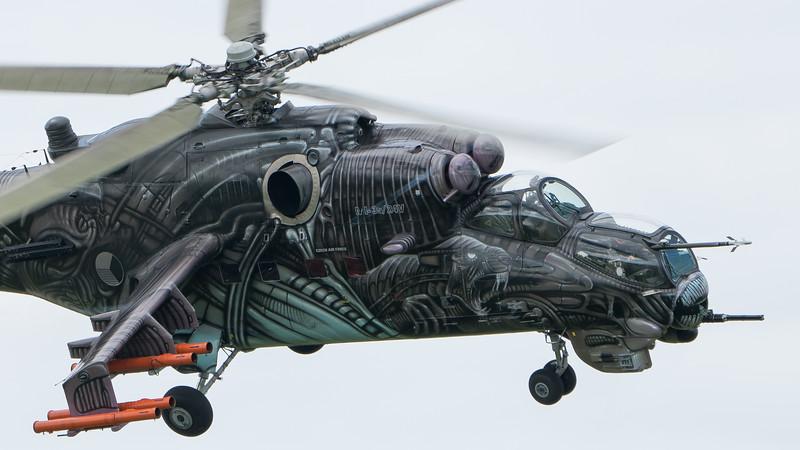 3366, Alien Tiger, Biggin Hill, Czech Air Force, Festival of Flight 2017, Hind, Mi-24V, Mil; London Biggin Hill Airport,Biggin Hill,London,England
