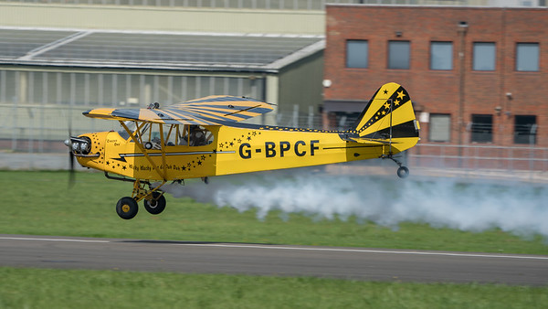 Brendan O'Brien, Cub, G-BPCF, J3, O'Briens's Flying Circus, Piper, Wings, Wings and Wheels 2017; Dunsfold Aerodrome,Waverley District,Surrey,England
