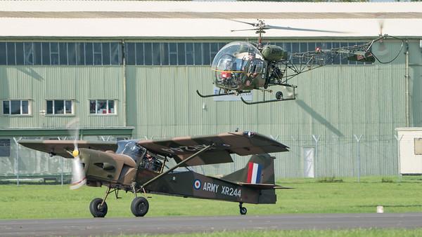 AOP Mk9, Agusta Bell, Army Air Corps, Auster Aircraft Ltd., G-CICR, Historic Aircraft Flight, Sioux AH Mk1, Wings, Wings and Wheels 2017, XR244, XT131; Dunsfold Aerodrome,Waverley District,Surrey,England