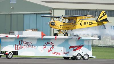 Brendan O'Brien, Cub, G-BPCF, J3, O'Briens's Flying Circus, Piper, Wings, Wings and Wheels 2017; Dunsfold Aerodrome,Waverley District,Surrey,England