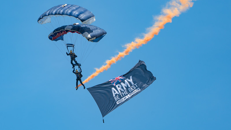 The Princess of Wales Royal Regiments Parachute Display Team, The Tigers, Wings, Wings and Wheels 2017; Dunsfold Aerodrome,Waverley District,Surrey,England