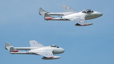 De Havilland, FB.52, LN-DHY, LN-DHZ, Norwegian Historical Squadron, PX-K, PX-M, T.55, Vampire, Wings, Wings and Wheels 2017; Dunsfold Aerodrome,Waverley District,Surrey,England