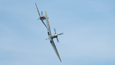 (Messerschmitt 109), Buchon Bf109, G-BWUE, Hispano, MH434, Spitfire, Spitfire LF Mk.IXb, Supermarine, The Aircraft Restoration Company, Wings, Wings and Wheels 2017; Dunsfold Aerodrome,Waverley District,Surrey,England