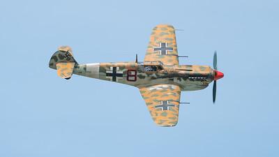 (Messerschmitt 109), Buchon Bf109, G-BWUE, Hispano, The Aircraft Restoration Company, Wings, Wings and Wheels 2017; Dunsfold Aerodrome,Waverley District,Surrey,England