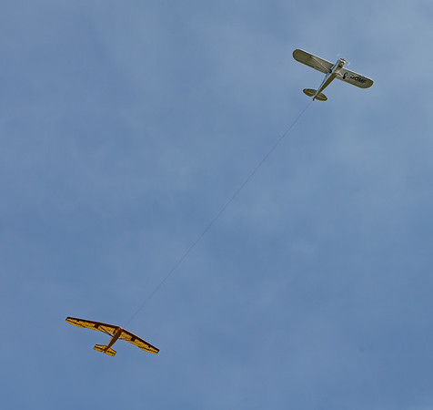 Shuttleworth, Aircraft-> Piper-> Super Cub PA-18-150-> G-OOMF, Aircraft-> Slingsby Sailplanes-> T.1 Falcon, Old Warden-> Race Day 2018-> Display-> Glider Race - 07/10/2018@13:47