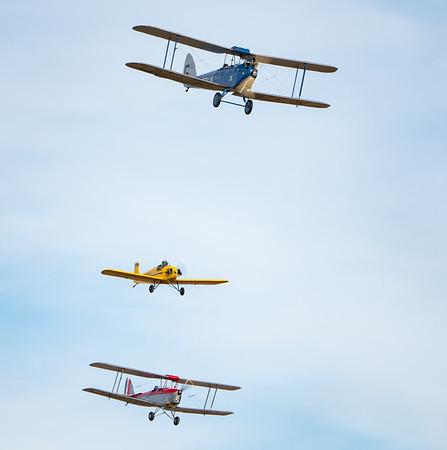 Shuttleworth, Aircraft-> de Havilland-> DH82a Tiger Moth-> K2585, Aircraft-> de Havilland-> DH-60 Moth-> G-EBLV, Old Warden-> Race Day 2018-> Display-> Mock Air Race 2, Aircraft-> Druine-> D.31A Turbulent-> G-BLTC - 07/10/2018@15:05