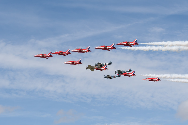 """Red Arrows """"BAe Hawk T1/T1As"""" and Supermarine Spitfire PRXIXs and Hawker Hurricane IIc (The Battle of Britain Memorial Flight)"""