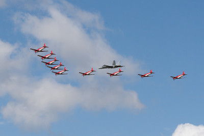 "The PC-7 Team ""Pilatus PC-7"" and McDonnell Douglas F/A-18F Super Hornet  (Swiss Air Force)"