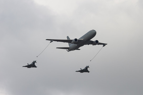 Boeing KC-767A  Flypast with a Eurofighter EF-2000 (Italian Air Force) & Eurofighter Typhoon FGR4 (Royal Air Force)