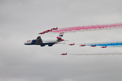 British Airways Airbus A380 - 841 Flypast with The Red Arrows Bea Hawk T1/T1As (Royal Air Force Aerobatic Team)