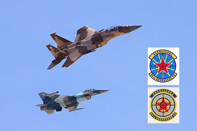 US Air Force F-15D Eagle, 65th Aggressors and F-16C Fighting Falcon, 64th Aggressors