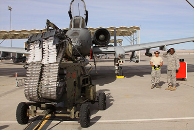US Air Force A-10A Thunderbolt II of the 91st Fighter Squadron being armed for a mission