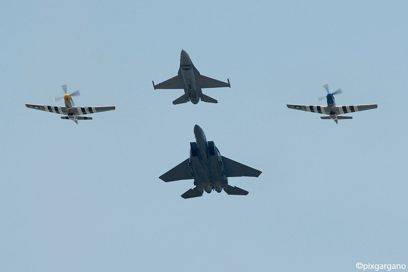 F15E Strike Eagle, P51D Mustangs, F16C Heritage Flight