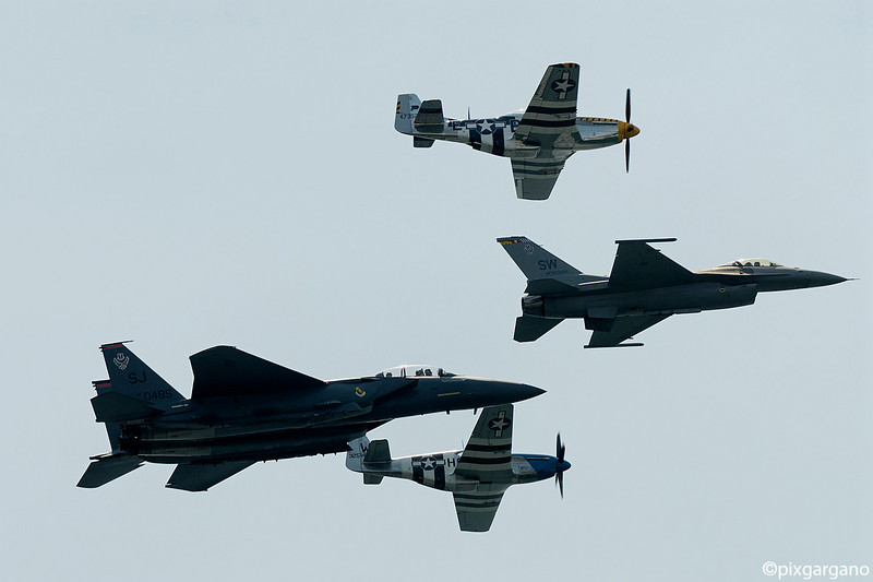 F15E Strike Eagle, P51D Mustangs, F16C Heritage Flight