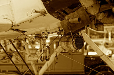 Canada Aviation Museum - Cables, pitot tubes  and other stuff on the belly of the Bellanca CH-300 Pacemaker.