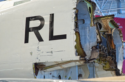 """Canada Aviation Museum - Avro CF-105 Arrow II cockpit, saved after beeing severed. The """"CUT HERE"""" inscription is still visible at the very aft of the air intake."""