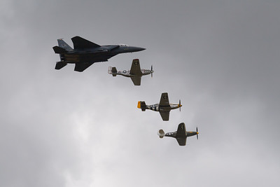 McDonnell Douglas F-15E Strike Eagle 2 North American P-51D Mustang and Bell P-39Q Airacobra