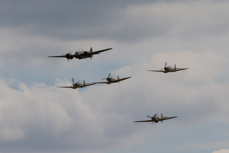1934 - Bristol Blenheim Mk.I and 3 Supermarine Spitfire's and a 1942 - Hawker Hurricane XII