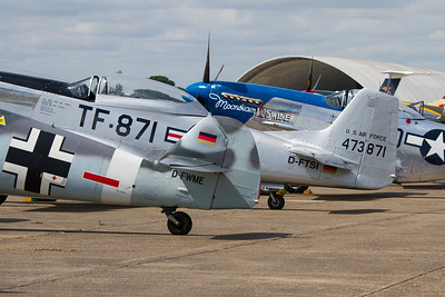 "1950 - Messerschmitt Me 109G-4 ""Red Seven"" and 1950 - North American TF-51 Mustang"