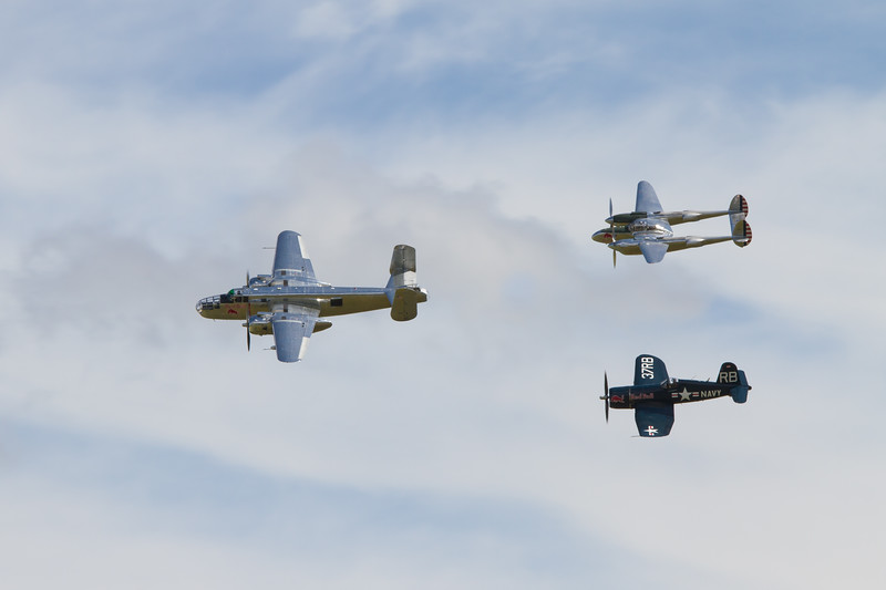 1945 - North American B-25J Mitchell - 1944 - Lockheed P-38 Lightning - 1945 - Chance Vought F4U-4 'Corsair'
